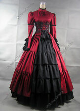 Victorian Corset Period Dress Ball Gown Gothic Steampunk Reenactment Costume 068