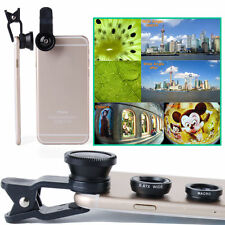 Universal 3in1 Clip On Camera Lens Kit Fisheye Wide Macro for iPhone Cell Phone