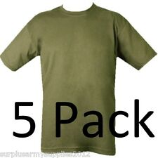 5 PACK MILITARY PLAIN T-SHIRT 11 COLOURS 100% COTTON BRITISH ARMY CADET FISHING