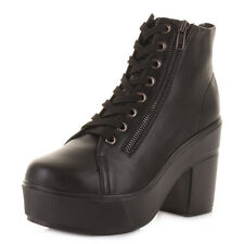 Ladies Leather Style Lace Up Platform Ankle Boots With Decorative Zip Size