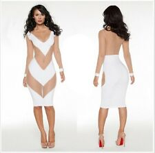 Fall 2014 celebrity mesh white sexy bandage bodycon dress evening party clubwear