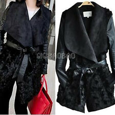 NWT Zara Women Motorcycle Biker Black Faux Fur PU Leather Lapel Long Jacket Coat