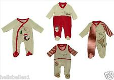 BABY BOY/GIRL CHRISTMAS SLEEPSUIT/BABYGROW VELOUR/COTTON VARIOUS NB 0-3 3-6