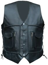 NEW MENS LEATHER WAIST COAT MOTORCYCLE CARGO POCKET VEST S-6XL