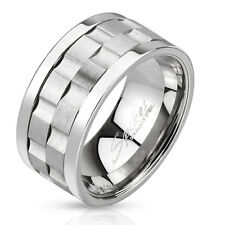 New Stainless Steel Mens Double Gear Center Spinning Band Ring Sizes 9-13(3296)