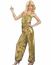 New Sexy Solid Gold 70s Disco Diva Dancer Costume Fancy Dress Adult Size
