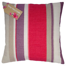Hand Made Laura Ashley Eaton Stripe Cranberry Fabric Cushion Cover