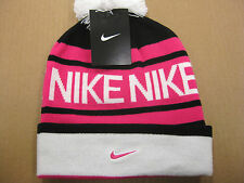 MENS NIKE BEANIE-POM BLACK/WHITE-PINK FOIL (546113 013 ) NEW WITH TAGS