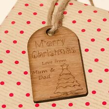 Rustic Wooden Christmas Gift Tag Individually Engraved With Personalised Message