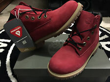 """Timberland 6"""" Boots Ruby Red Villa Black Wheat Constructs GS PS 6c-7y Kids 6598R"""