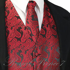 BLACK RED XS to 6XL Paisley Tuxedo Suit Dress Vest Waistcoat & Neck tie Wedding