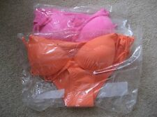 2 X NEW LOOK GIRLS HALTER NECK BIKINI SETS, 1 X PINK, 1 X ORANGE, VARIOUS SIZES
