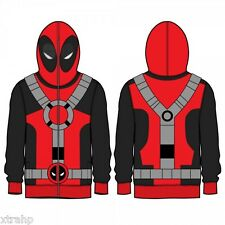 Authentic Marvel Comics DEADPOOL Adult Full Zip Up Hoodie Costume