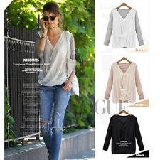 Womens Lady Silk Chiffon Long Sleeve Tops V-Neck Shirt Blouse Cozy Contton Sexs