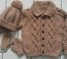 TO ORDER-6-12 months 1-2 3-4 5-6 7-8 years/yrs Knitted Aran Cardigan/Jacket Hat