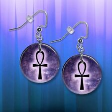 """**ANKH** Choice Of 1"""" Button Dangle Earrings **FREE PIN** ~~USA Seller"""