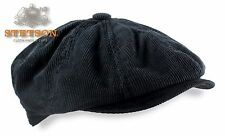 Stetson Ivy Hat 8/4 Black Brushed Twill Corduroy Mens Newsboy Cap Driving M L XL