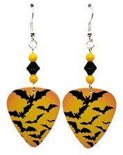 NEW! Handmade in USA Guitar Pick Earrings with Beads - Halloween Scary BATS