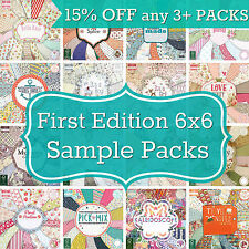 FIRST EDITION 6x6 PAPER - 16 SHEET SAMPLE PACKS -Fab for Cardmaking / Scrapbooks