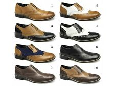London Brogues GATSBY Mens Leather Lace Up Brogue Wingtip Formal Evening Shoes