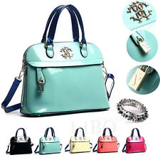 Women Clutch Purse Patent Leather Hobo Dome Shoulder Bag Messenger Tote Satchel