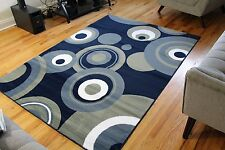 Blue White 5x7 Green Abstract Circles 5x8 Contemporary 8x11 Modern Area Rug 8x10