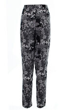 Ella black white floral Printed Tapered casual High Waisted cigaretteTrousers 8
