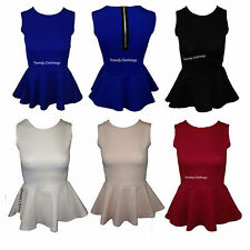 New Womens Ladies Sleeveless Plain Zip Fastening Frill Shift Peplum Bodycon Top
