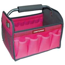"Small 12"" Tool Box Bag Tote Tools Storage Handy Case Handle Pockets Pink Red New"