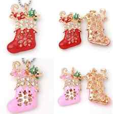 1pc Rhinestone Christmas Shoes Golden Charm Pendant Fit Necklace Gift