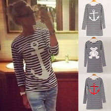 Women Round Collar Long Sleeve Striped Casual T Shirt Blouse Tops Tee Size 4-16