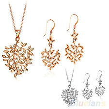 Women's Charming 9K Gold Plated Tree Leaf Design Necklace Earrings Jewelry Set