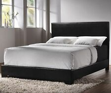 Modern Queen Size Leather Upholstered Bed Frame Bedroom Furniture + Headboard