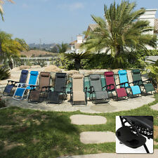 2 Folding Zero Gravity Reclining Lounge Chairs+Utility Tray Outdoor Beach Patio