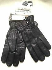 MENS GENUINE LEATHER BLACK TOUCH SCREEN FLEECE LINED THERMAL INSULATED GLOVES
