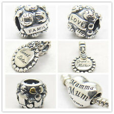 Silver Family Love Dangle Bead fit European Bracelet & necklace holiday gift