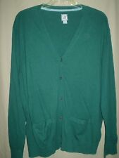 V Neck Cashmere Blend Button Down Green Cardigan Preppy Sweater XXL ~ Mr Rogers