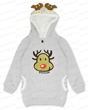 Kids Girls Boy Rudolph Red Nose Reindeer Xmas Fleece Hoodie Top Cute 5-12 Yrs