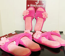 Dearfoams Womens Open Toe House Slippers Pink S / M/ L- NWT Free Shipping