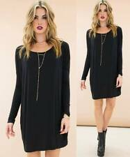Black Long Sleeve Scoop Neck Piko Bamboo Oversized Tunic Tee Shirt Dress NWT