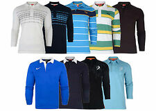 New Mens Puma Long Sleeve Polo Shirt Plain Stripe Causal Top