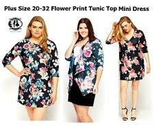 LADIES PLUS SIZE 16-32 FLORAL TUNIC TOP T-SHIRT BLOUSE FLOWER PRINT MINI DRESS