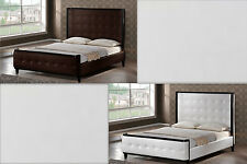 MODERN BROWN OR WHITE FAUX LEATHER TALL TUFTED HEADBOARD QUEEN PLATFORM BED NEW
