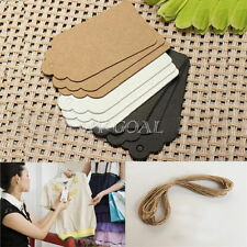 100pcs 7x4cm Kraft Paper Gift Tags Wedding Party Scallop Label Blank Luggage