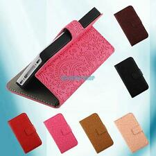Lavender Embosses Flip Stand Wallet PU Leather Cover Skin Case For Smart Phone