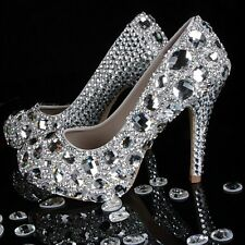 LUXURY Czech & swarovski Crystal Rhinestone Bridal Prom Party Heels Shoes