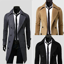 Men's Stylish Slim Double Breasted Overcoat Trench Coat Winter Warm Long Jacket