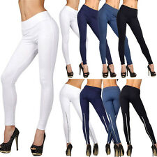 Fashion Womens Unique Full Length High Waist Legging with Zipper Jegging Sport
