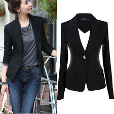 Fashion Women One Button Slim Casual Business Blazer Suit Jacket Coat Outwear
