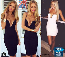 Celeb Women Going Out Club Bodycon Deep V Plunge Bustier Bra Low Cut Dress WD019